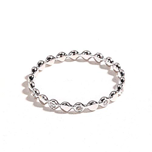 Carleen 18k Solid Gold 0.1ct Diamond Stackable Beaded Ring Band Women Girls (White Gold)