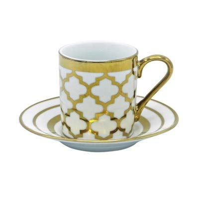 (Porcelain China Espresso Turkish Coffee Demitasse Set of 6 Cups + Saucers with Metallic Gold Design (Moroccan Tile))