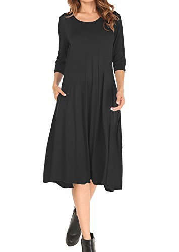 long black a line dress - 5