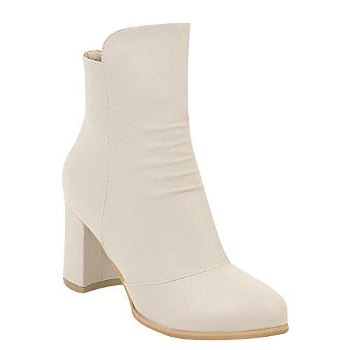 Mee Shoes Women's Work High Block Heel Zip Short Boots Beige C9XwHzGa