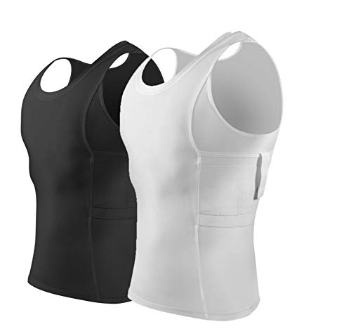 ConcealmentClothes Men's Compression Undercover- Concealed Carry Holster Tank Top Shirt - 2 Pack- White and Black - XX-Large