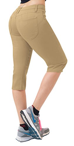 Women's Butt Lift Super Comfy Stretch Denim Capri Jeans Q43308 Khaki 7 Bum Bum Trousers