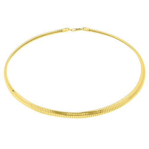 Verona Jewelers 925 Sterling Silver Flexible Italian Flat Domed Omega Chain Necklace- 2MM 3MM 4MM Cubetto Italy Wire Chain 16 18 20, 14K Gold Over Silver Chain Necklace (16, 4MM)