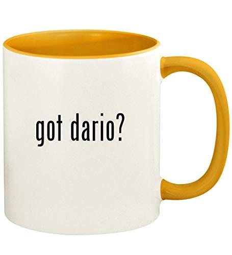 got dario? - 11oz Ceramic Colored Handle and Inside Coffee Mug Cup, Golden Yellow -
