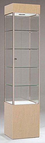 Square Tower Display Maple/Chrome Assembled Showcase USA Made 75''H x 16''W NEW by Bentley's Display