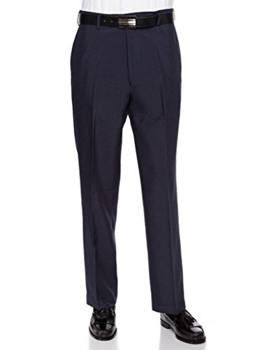 RGM Men's Flat Front Dress Pant Modern Fit - Perfect for Office, Business and Every Day! Navy 40W x 32L (Hem Dress Slacks)