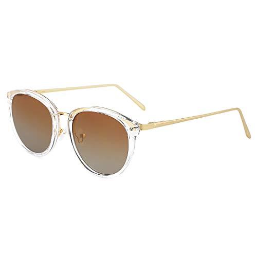 TIJN Vintage Round Metal Optical Eyewear Non-prescription Eyeglasses Frame for Women ((Sunglasses) Gold Frame with Tawny Lens, ()