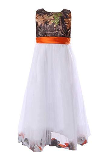 DINGZAN Camo and White Tulle Flower Girl Dress Mini Junior Bridesmaid Gowns 8 Orange]()