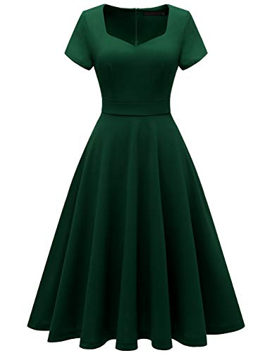 - Bridesmay Women's V-Neck Vintage Tea Dress Prom Party Swing Cocktail Bridesmaid Midi Dress DarkGreen S