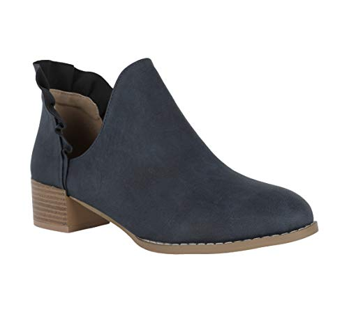 (Womens Slip On Ankle Booties Cutout Block Low Heel Pointed Toe Ruffle Boots Navy )