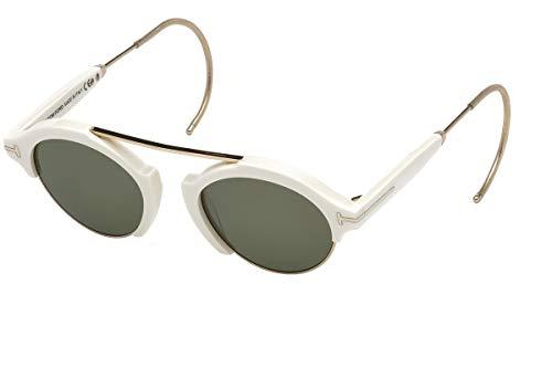 (Tom Ford FT0631 Oval Sunglasses Farrah-02 49mm (25N White/Gold, Green))