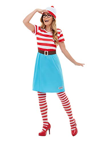 Smiffys 50281S Officially Licensed Where's Wally Wenda Costume, Women, Red & White, S - UK Size ()
