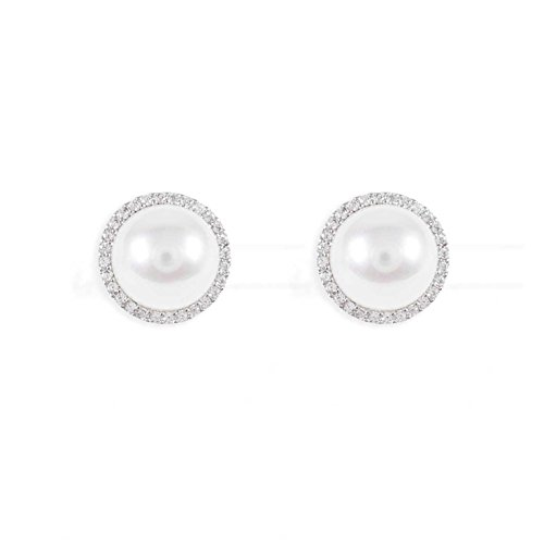 ashion jewelry gift for women wife girlfriend (Silver Pearl Crystal) ()