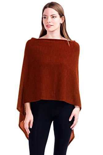 Modern Kiwi Solid Knit Short Asymmetric Wrap Poncho Topper Rust One ()