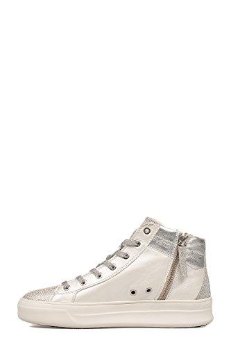 Pelle Bianco Crime Sneakers Argento London Hi Top Donna 25020KS110 aw8Y8qxr