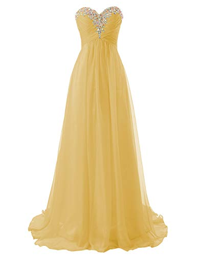 (JAEDEN Prom Dress Bridesmaid Dresses Long Chiffon Formal Evening Gown A line Gold US16W)