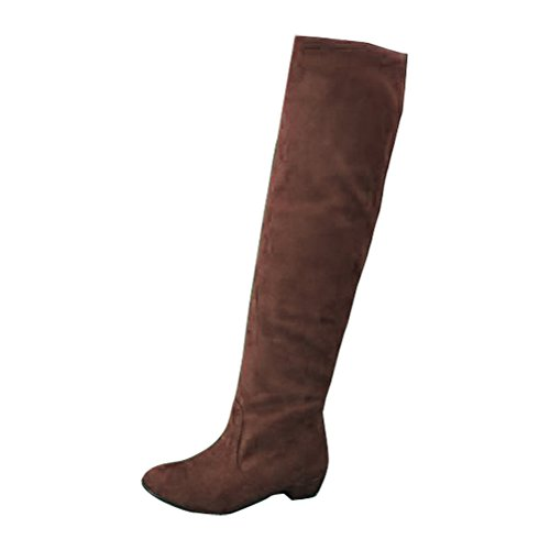Gaorui Sexy Women Winter Over Knee Faux Suede Stretch Thigh High Slouch Heel Boot (Microfiber Knee High Boot)
