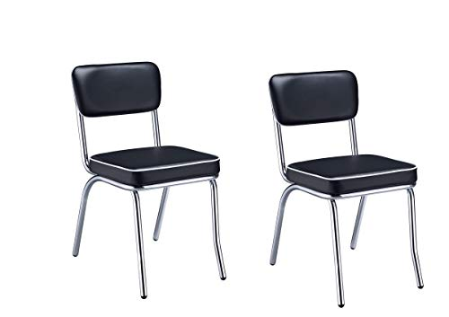 Retro Side Chairs with Cushion Black and Chrome (Set of 2)