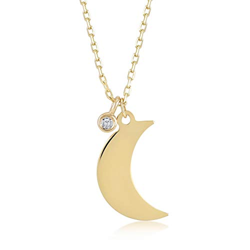 Gelin 14k Real Gold 0,01 ct Diamond Half Moon Pendant Necklace for Women, 18 Inc