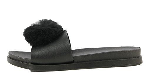 Donne Di Bambù Open Toe Pom Pom Sand Jelly (nero, 7 M Us Donne)