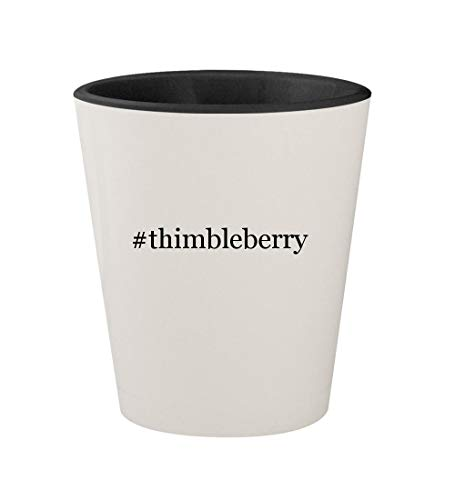 #thimbleberry - Ceramic Hashtag White Outer & Black Inner 1.5oz Shot - Thimbleberries Flannel