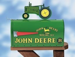 (John Deere Model B - Rural Style Mailbox with Tractor Topper )