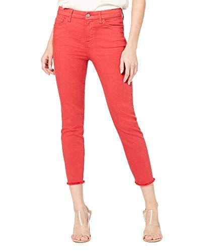 Jen7 by 7 for All Mankind Women's Crop Skinny Fray Hem Jeans – Cardinal Red – Size 25 (0)