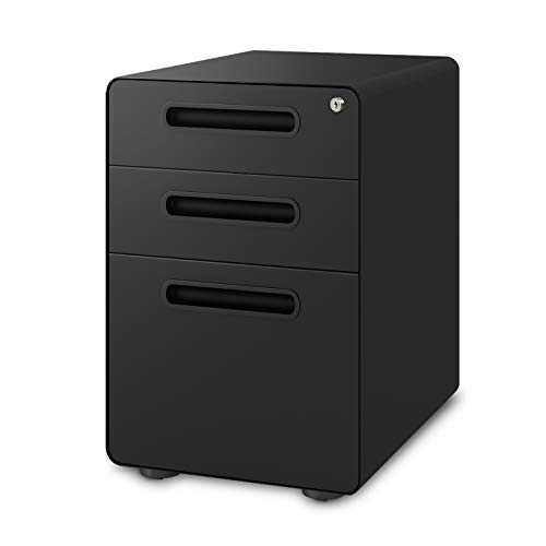 4 Drawer Binder Lateral File - DEVAISE 3-Drawer Mobile File Cabinet with Anti-tilt Mechanism,Legal/Letter Size,Black