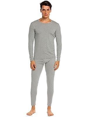 Ekouaer Men's Long Thermal Underwear Fleece Lined Winter Long Johns Base Layer Set S-XXL