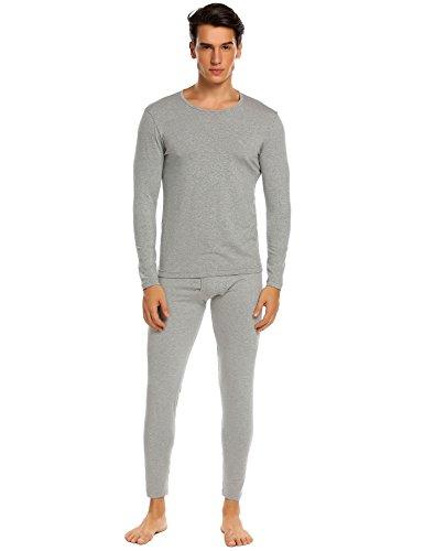 Ekouaer Base Layer Men Long Sleeve Thermal Underwear Set Plus Size Lingerie,Lightweight Modal-gray,XX-Large