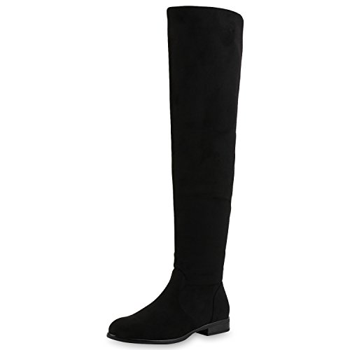 napoli-fashion Damen Overknees Gefütterte Stiefel Veloursleder-Optik Schuhe Elegante Winter Boots Winterschuhe Nieten Winterstiefel Jennika Schwarz Basic