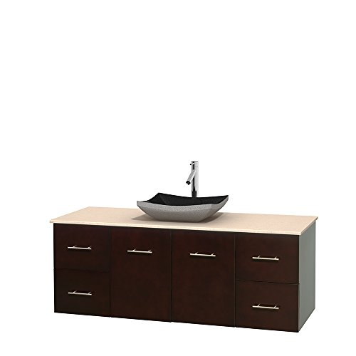 UPC 700161136739, Wyndham Collection Centra 60 inch Single Bathroom Vanity in Espresso, Ivory Marble Countertop, Altair Black Granite Sink, and No Mirror