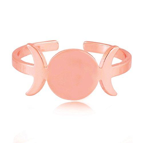 SENFAI Triple Goddess Symbol Women Finger Ring Open Size 6 to 9 3 Tone Half Moon Band Jewelry (Rose Gold)