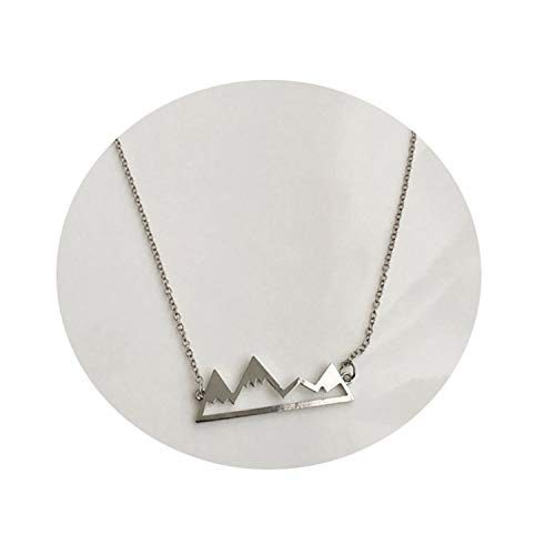 Gold/Silver Minimalist Mountain Top Pendant Snowy Mountain Necklace Hiking Outdoor Jewelry Mountains Climbing Gifts ()