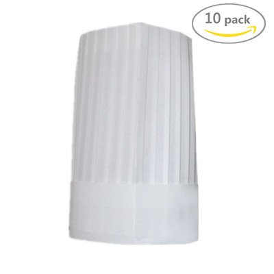 LovesTown Paper Non-woven Fabric Chef Tall Hat Disposable...