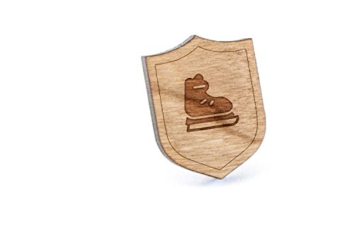 Ice Hockey Skates Lapel Pin, Wooden Pin And Tie Tack | Rustic And Minimalistic Groomsmen Gifts And Wedding Accessories - Tack Ice Hockey Skates