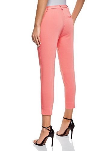 Con 4100n Ajustados Cremallera El En Pantalones Collection Lateral Mujer Oodji Rosa xCqI1x