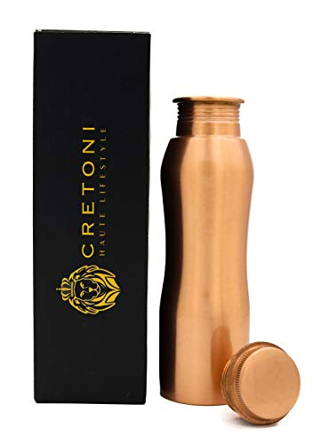 CRETONI Copperlin Pure Copper Water Bottle : Curved Seemless Leak Proof Design : Perfect Ayurvedic Copper Vessel for Sports, Fitness, Yoga, Natural Health Benefits (850 Milliliter/28 Ounce) (Hot Knobs Handcrafted Spring)