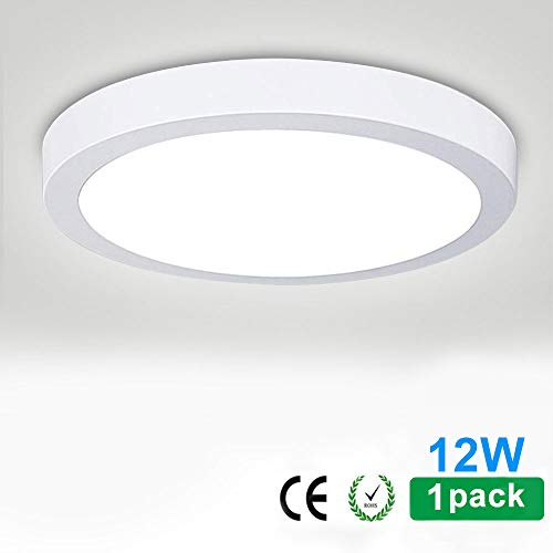 LED Flush Mounted Panel Wall Ceiling Down Lights-12W,Small Panel Lamp,Close to Ceiling Light,Mount Surface Exterior Lighting for Bedroom,Bathroom,Kitchen,Hallway,Colset,5000K/Daylight White