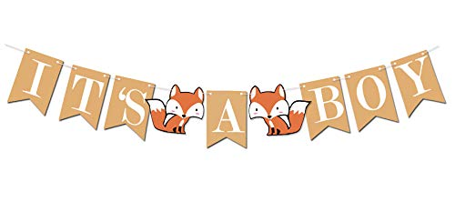 Woodland Creature Fox Banner ITS A BOY for Baby -