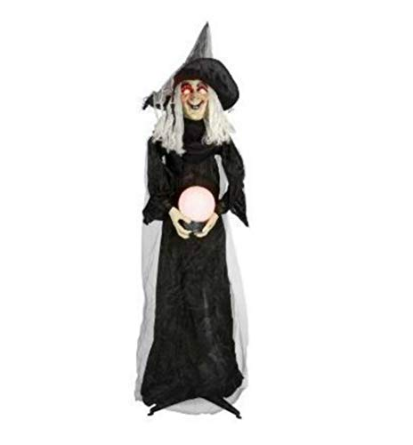 Nantucket 6' Animated Halloween Witch w/light up Crystal Ball Lighted Eyes - Battery -