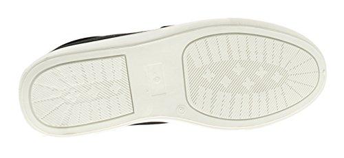 Urban Empire Hombre Lona,Encaje Cordón de Fijación Zapatillas Liso Diseño con PVC Suela Unidad - Negro - GB Tallas 6-11