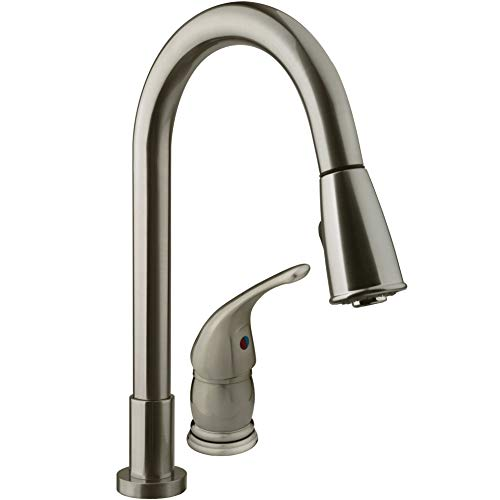 Dura Faucet (DF-NMK503-SN) Pull-Down RV Kitchen Faucet with Side Lever - For RV's, Motorhomes, 5th Wheels, Travel Trailers, and Towables (Brushed Satin Nickel)