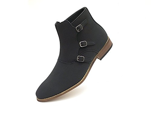 Easy Strider Chelsea Ankle Shoe Boots – Suede Material – Classic Footwear For Men – Comfortable Rounded Toe – Side Buckles With Zippered Closure – Black 15