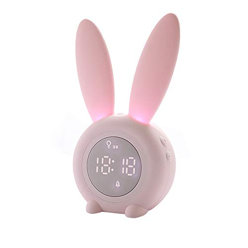 (BLAK SKY 【New Upgrade】 Rabbit Digital Clock Alarm Creative led Child Student Lovely Snooze Cartoon Electronic Mute Night Light Children's Gift)