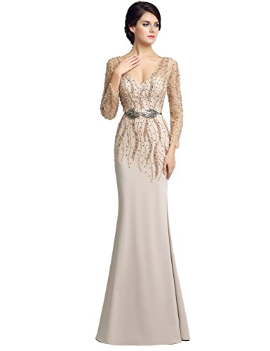 Dress Sequins Evening Clearbridal Crystal Gown nude Women's Long Lx277 Prom Sleeve IYHTI