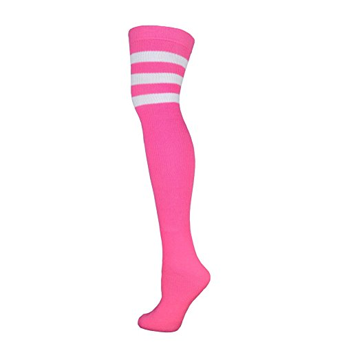 The Knee Pink Over Socks (Retro Tube Socks - Pink w/White (Thigh High))