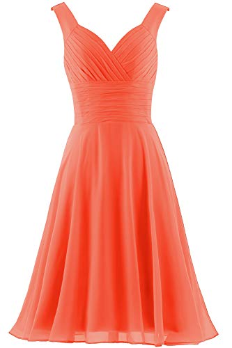ANTS Women's V-Neck Chiffon Bridesmaid Dresses Short Prom Gown Size 8 US Orange