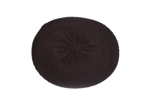 Pop Women's Fashion Knitted Beret Net Style Crochet, Brown