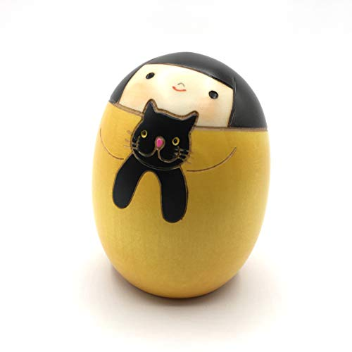 Kokeshi Doll Girl with Cat Yellow